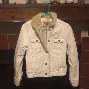 Barely worn white denim and fur jacket